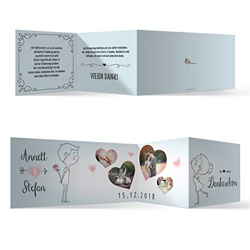 40 x Hochzeit Dankeskarten Danksagungskarten individuell mit Ihren Texten und Fotos Zickzack Klappkarte DIN Lang 99 x 210 mm - Küssendes Paar
