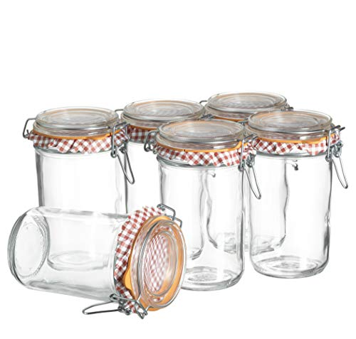 MÄSER 931434 Ermetico Einmachglas 750 ml im 6er-Set, Vorratsgläser mit Deckel und Bügelverschluss zum Einkochen, Einlegen und luftdichtem Aufbewahren, Glas