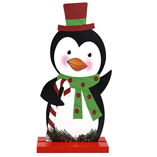ABOOFAN Wooden Christmas Desktop Ornament Penguin Tabletop Figurine Wood Xmas Sign for Xmas Home Table Centerpiece Ornaments