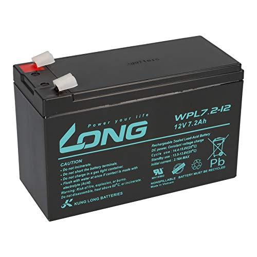 WPL7.2-12-M-F2 - Batería de plomo (12 V, 7,2 Ah, larga duración, compatible con USV UPC, 7 Ah, 8 Ah, 9 Ah)