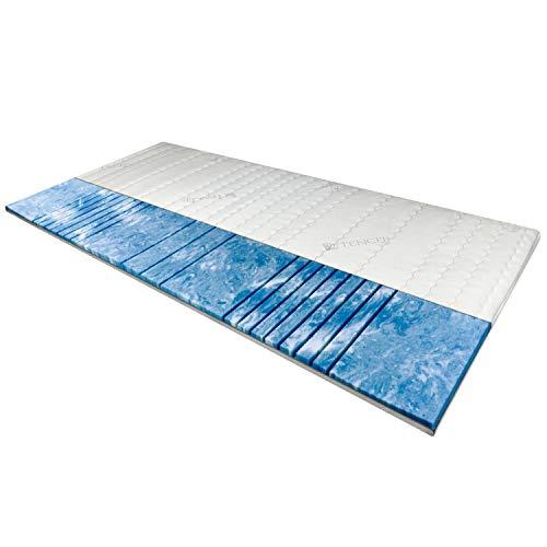 AM Qualitätsmatratzen 8 cm hoch - 7-Zonen Deluxe Gelschaum-Topper 180x200 cm mit RG 50 - Hochwertiger Tencel-Bezug - Antirutschfunktion - Umlaufendes Klimaband - Gel-Topper 180 x 200 8cm