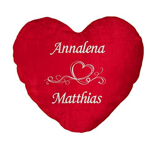 Direkt-Stick.de Herzkissen mit Namen Bestickt. Personalisiertes Kissen - Romantisches Geschenk Valentinstag, Dekokissen rot Herzform