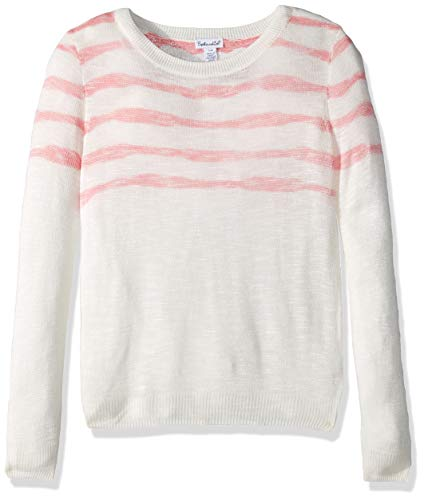 Splendid Big Girls' Kids and Baby Long Sleeve Pullover Sweater, Stripe Knit Off White, 10