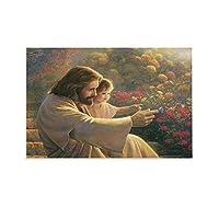 イエス・キリスト教会イエスの画像 3yyキャンバスポスター壁アートの装飾リビングルームの寝室の装飾のための絵画の印刷キャンバスポスター寝室の装飾スポーツ風景オフィスルームの装飾ギフト 16x24inch(40x60cm)