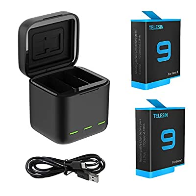 TELESIN Magnetic Triple Charger Battery Storage Charging Box with Hero 9 Battery Pack, USB Type-C Cable for GoPro Hero 9 Black Action Cameras by TELESIN