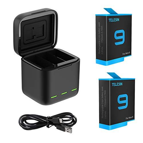 TELESIN Cargador triple y caja de almacenamiento de batería con cargador de 3 canales con 2 baterías recargables de iones de litio para GoPro Hero 9 Black (cargador + 2 baterías)