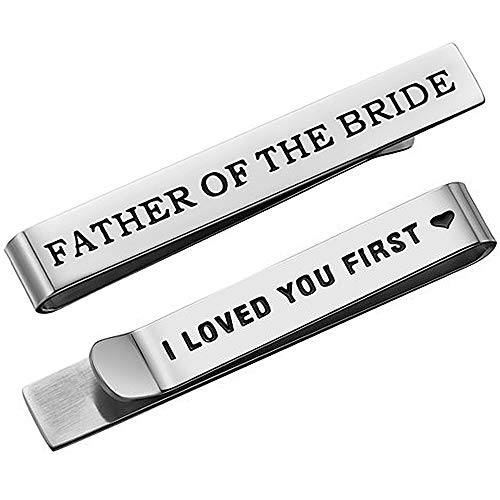 DTWAWA Edelstahl Krawattenklammer Bar Hochzeitsfeier Tag Krawatte Bar Geschenk für Mann Vater des Bräutigams Vater der Braut Geschenke Krawatte Clip