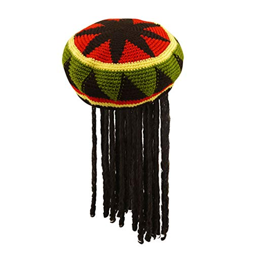 Rimi Hanger Jamaican Rasta Hat with Dreadlocks and Inflatable Bongo Drum Caribbean Party Set (Jamaican Hat with Hair) One Size