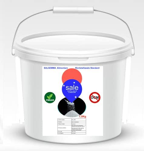 Cubo de sal granulada alimentaria Hipro Salmarino para agua piscina – También para descalcificadores certificado GMP, ISO 9001, ISO 50001, IFS (7,5 kg)