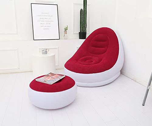 MHUI Aufblasbarer Freizeit-Sofastuhl und Fußschemel Klappliege im Freien Beflockung (braun),Rot
