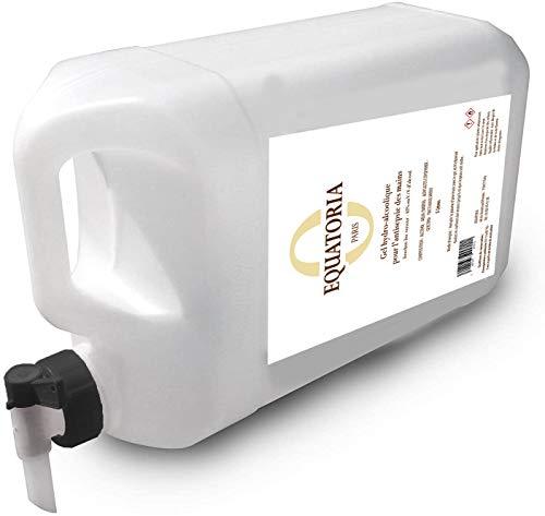 Gel hydroalcoolique pour l'antisepsie des mains- Bidon de 5 Litres avec bouchon robinet verseur - Made in France