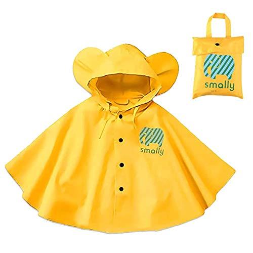 Poncho de lluvia con capucha para niños – Chubasquero impermeable de una sola pieza traje de lluvia portátil para deportes montar camping viajes al aire libre, 80 – 100 cm amarillo