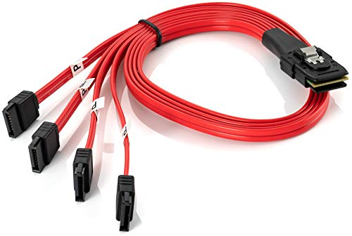 Poppstar Mini SAS Kabel SFF-8087 mit 4X SATA 7Pin Anschluss-Stecker 36-polig 0,5 m