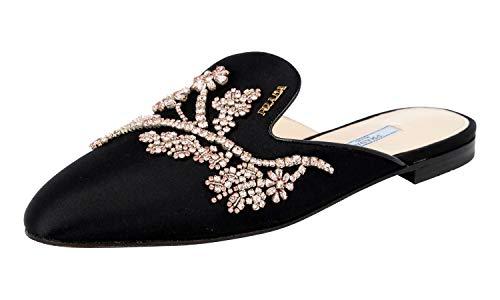 Prada Women's 1S667I U1L F0002 Black Satin Sandals US 7.5 / EU 37.5