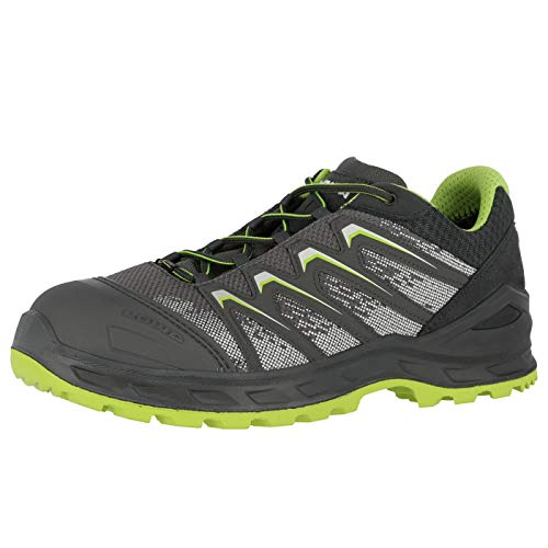 Lowa Sicherheitsschuhe LARROX Work GTX Black Lo S3, Schuhgröße:43 (UK 8.5), Farbe:grau/Limegreen