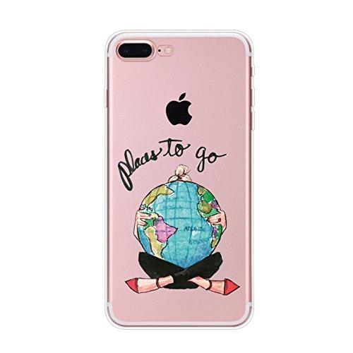 Vanki Custodia Con iPhone 7 Cover iPhone 8 Silicone Trasparente TPU Flessibile Sottile Bumper ragazze eleganti Case per Apple iPhone 7/8
