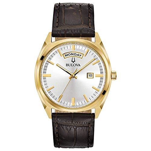 Bulova Herren Analog Quarz Uhr mit Leder Armband 97C106