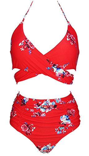 COCOSHIP Red & White & Jade Pink Garden Flower Retro Ruching High Waist Bikini Set Push Up Cross Top Sport Tie Back Bathing Swimwear 14