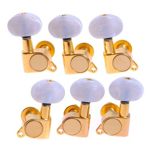 Kmise 3L3R K-801 Clavijas de afinación de oro cerradas para piezas de guitarra acústica de repuesto