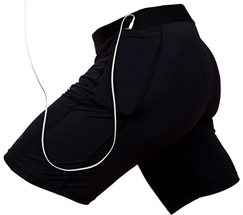 THE II BRO Compression Shorts with Pockets for Running/Workout Black
