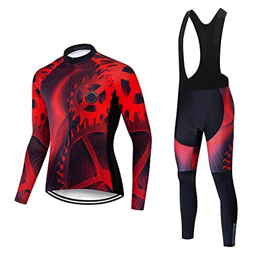 Juego de ropa deportiva de manga larga para hombre, con forro polar térmico + pantalones acolchados en 3D (rojo, XS)