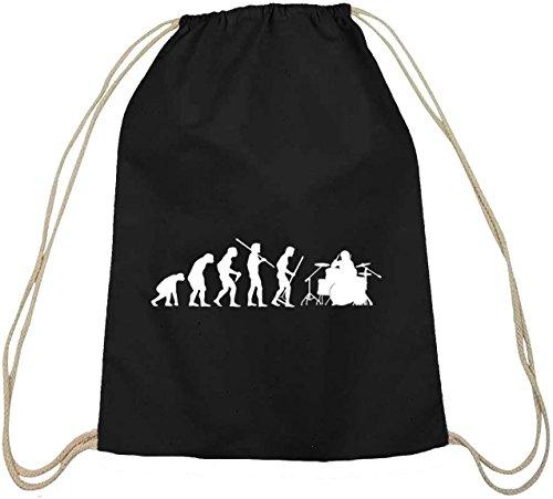 Shirtstreet24, EVOLUTION DRUMMER, Schlagzeuger Baumwoll natur Turnbeutel Rucksack Sport Beutel, Größe: onesize,schwarz natur