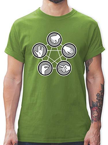 Nerds & Geeks - Rock Paper Scissors Lizard Spock - Schere Stein Papier Echse Spock - XL - Hellgrün - Stein Schere Papier echse Spock - L190 - Tshirt Herren und Männer T-Shirts