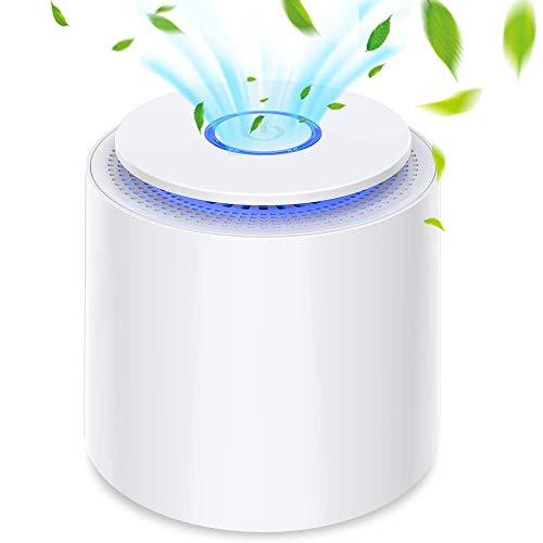 Purificatore d'Aria Portatile con Filtro HEPA, USB Desktop Filtro Aria con Luce Notturna e Funzione di Aromaterapia, Rimuovere Polvere, Polline, Fumo, Odore, Peli di Animali Domestici, Bianco