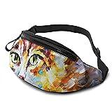Pintura al óleo gato pintura cintura bolsa con agujero para auriculares, paquete de riñonera para hombres y mujeres con correa ajustable para exteriores