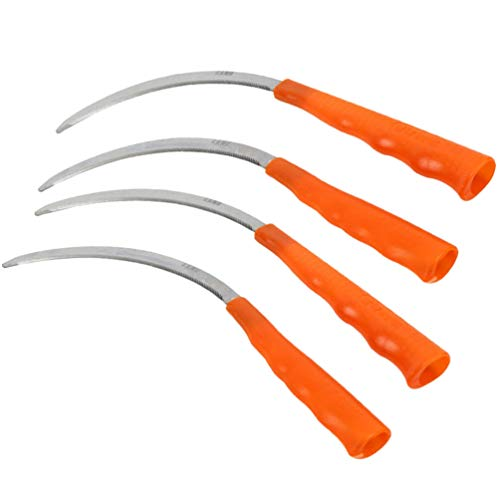 Sale!! Cabilock 4 Pcs Weeding Sickle Stainless Steel Grass Sickle with Plastic Handle Gardening Tool...