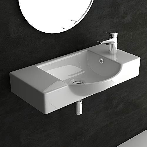 bad1a Alpenberger Badezimmer Waschtisch 55 cm aus robuster Keramik mit Überlaufschutz | Designwaschbecken für Wandmontage und auf Unterschrank geeignet