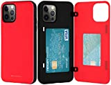 Goospery for iPhone 12/12 Pro (2020) 6.1-Inch Card Holder Wallet Case, Protective Dual Layer Bumper Phone Back Cover with Hidden Mirror (Red) IP12P-MDB-RED