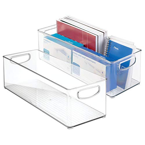 mDesign Large Stackable Plastic Storage Bin Container, Home Office Desk and Drawer Organizer Tote with Handles - Holds Gel Pens, Erasers, Tape, Pens, Pencils, Markers - 16' Long, 2 Pack - Clear