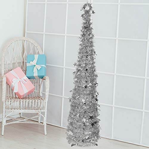 UpdateClassic Indoor Christmas Tree Decorations, 5.9ft Vintage Cute Skinny Small Pop up Christmas Tree, Big Xmas Decor for The Home Bedrooms Office(Silver)