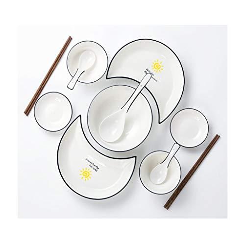 Juego De Vajilla Completo Porcelana, Platos Y Cuencos De Porcelana Blanca, Cocina Y Uso En Fiestas Familiares, Se Puede Usar De Forma Segura En El Lavavajillas (Color : Dinnerware Set Service for 2)