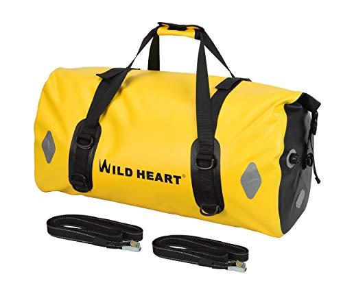 WILD HEART 55L 66L 77L borsa da moto borsone per viaggi, moto, ciclismo, escursionismo, campeggio (giallo, 77L)