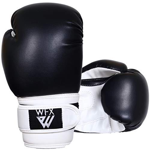 Kinder-Boxhandschuhe für Kampfsport, Sparring, Junior-Handschuhe, strapazierfähiges Leder, MMA-Training, Boxsack, Handschuhe, Schlagsport, Muay Thai, Kickboxen, Jungen und Mädchen (schwarz, 113 g)