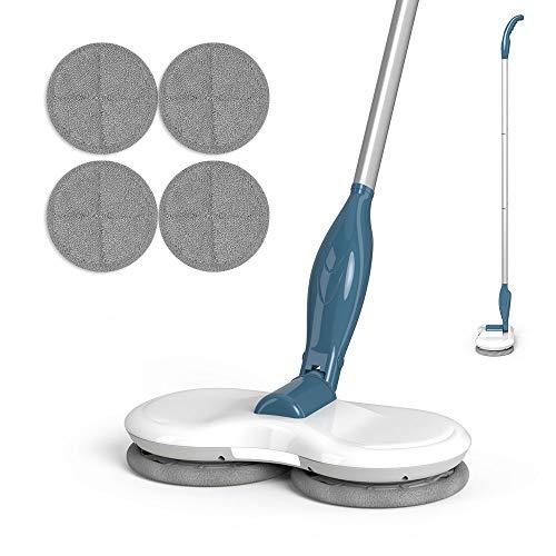 GOBOT Balai électrique sans fil - Pour nettoyer les sols et les fenêtres - Avec projecteur LED et 4 tampons en microfibre lavables - Autonomie de la batterie : 60 minutes.