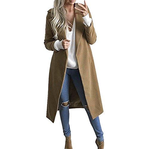 Susenstone Parka Cardigan Hiver éPais Chaud Slim pour Femmes à La Mode Manteau De Laine Pas Cher Revers Couleur Unie pour Long Pardessus Overcoat (M(EU38), Kaki)