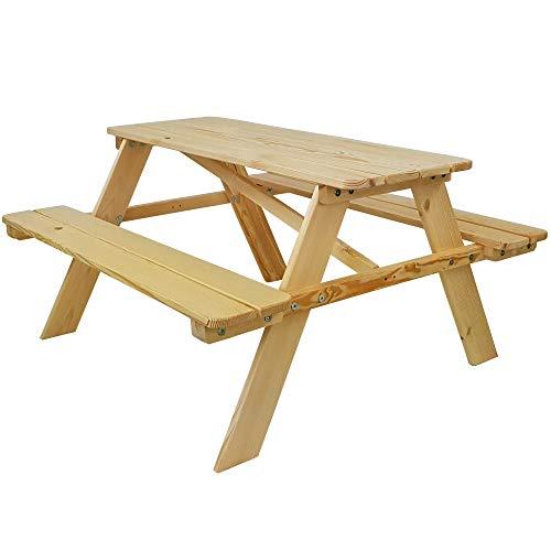 SunDeluxe Kinder Picknicktisch Natur - Kindersitzgruppe aus Holz für drinnen und draußen - Kindersitzgarnitur für 4 Kinder - mit abgerundeten Ecken und Kanten
