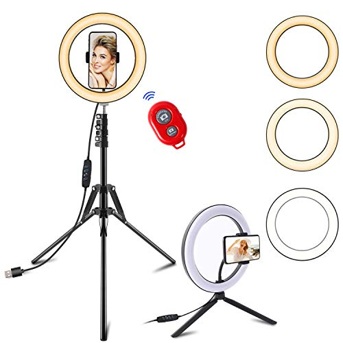 "Selfie Ring Light with Tripod Stand and Cell Phone Holder for Live Stream/Tiktok, SPRITREE 10.2"" Dimmable LED Camera Ringlight for Makeup/YouTube, Compatible with iPhone & Android"