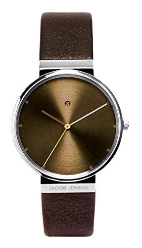 Jacob Jensen Herren Analog Quarz Uhr mit Leder Armband 843