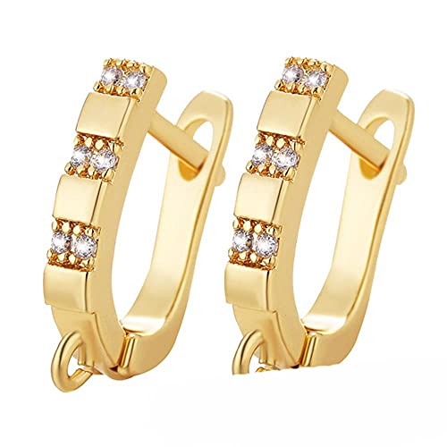 Lujo de la boda de latón Zircon pendiente gancho joyería suministros moda borlas DIY boda hallazgos accesorios-oro