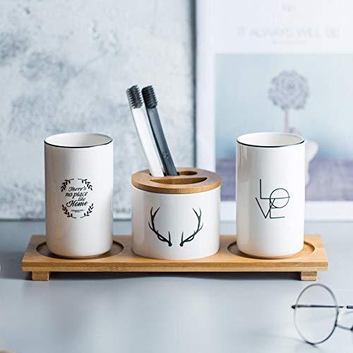 TONGADA Taza de cerámica del Cepillo de Dientes de la Boca de la Copa Conjunto nórdica Pareja común Accesorios de baño apuesto envase de alimento (Color : White1, Size : Gratis)