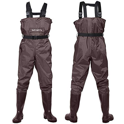 Dark Lightning Fly Fishing Waders for Men and Women with Boots, Mens/Womens High Chest Wader with Boot Hanger (Brown, M7/W9)