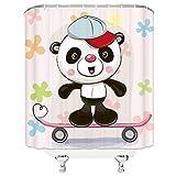 AYogg Cortina de Ducha Cute Cartoon Baby Shower Curtain Set Home Decor Panda, Conejo, Gato Cortina de baño de Tela de poliéster con 12 Ganchos Cortinas de Ducha