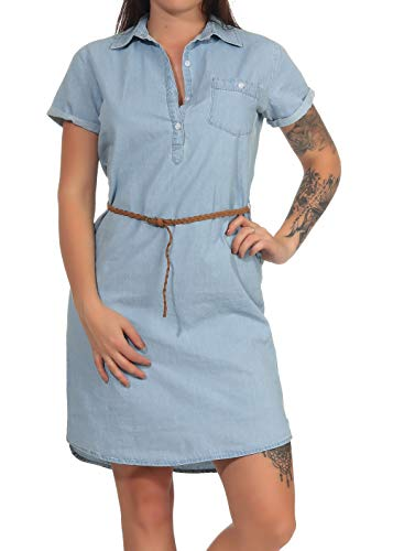 Eight2Nine Damen Shirt-Kleid LETN-017/LETN-049 Hemdblusenkleid in Jeans-Optik, kurzärmlig Light Blue M