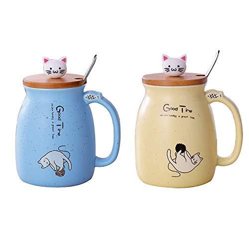 Lifemaison Cat Keramik Becher hitzebeständige Tasse mit Löffel Deckel Drinkware Kinder Geschenk mit Cartoon Katze Deckel Milch Kaffee Keramik Kinder Becher Büro Paar Tasse 420 Ml (Blau+Gelb)
