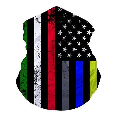 The First Responder Heritage Flag Bandanas Multifunction Face Mask Headband Neck Magic Scarf for Motorcycle Cycling Sports