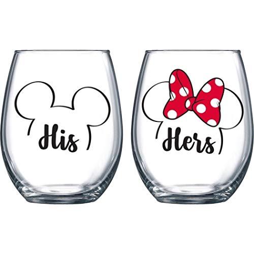 Juego de copas de vino sin tallos de Mickey y Minnie